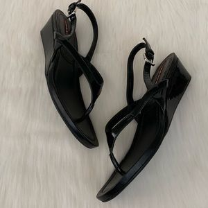 Prada Patent Leather Demi Wedge Thong Sandal